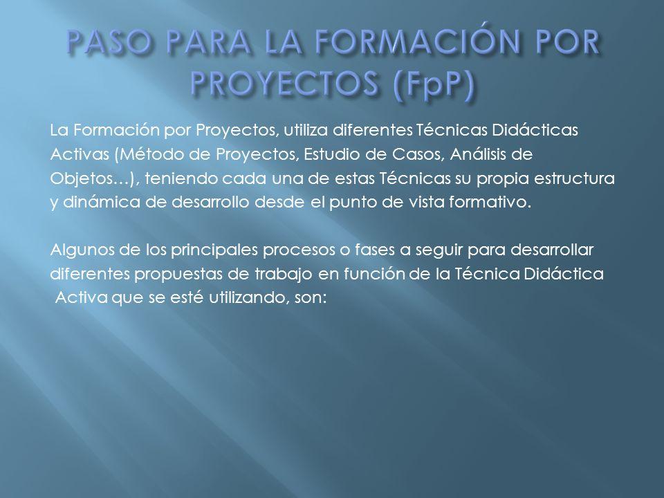 PASO PARA LA FORMACIÓN POR PROYECTOS (FpP)