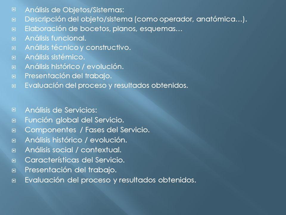 Análisis de Servicios: Función global del Servicio.