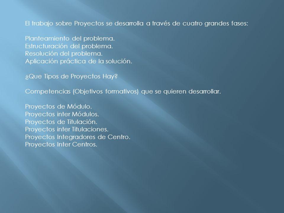 El trabajo sobre Proyectos se desarrolla a través de cuatro grandes fases: