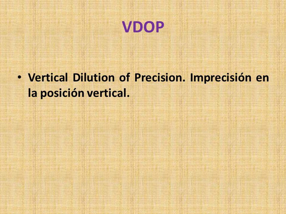 VDOP Vertical Dilution of Precision. Imprecisión en la posición vertical.