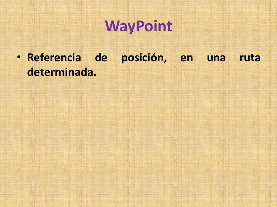 WayPoint Referencia de posición, en una ruta determinada.