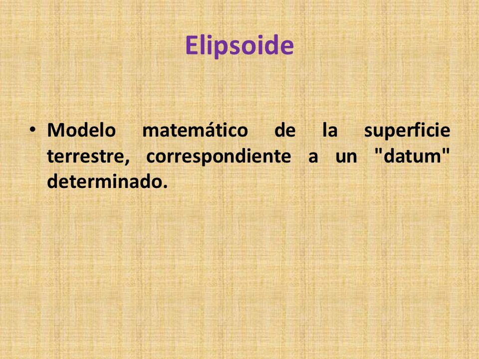 Elipsoide Modelo matemático de la superficie terrestre, correspondiente a un datum determinado.
