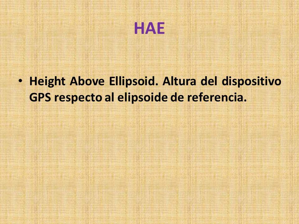 HAE Height Above Ellipsoid. Altura del dispositivo GPS respecto al elipsoide de referencia.