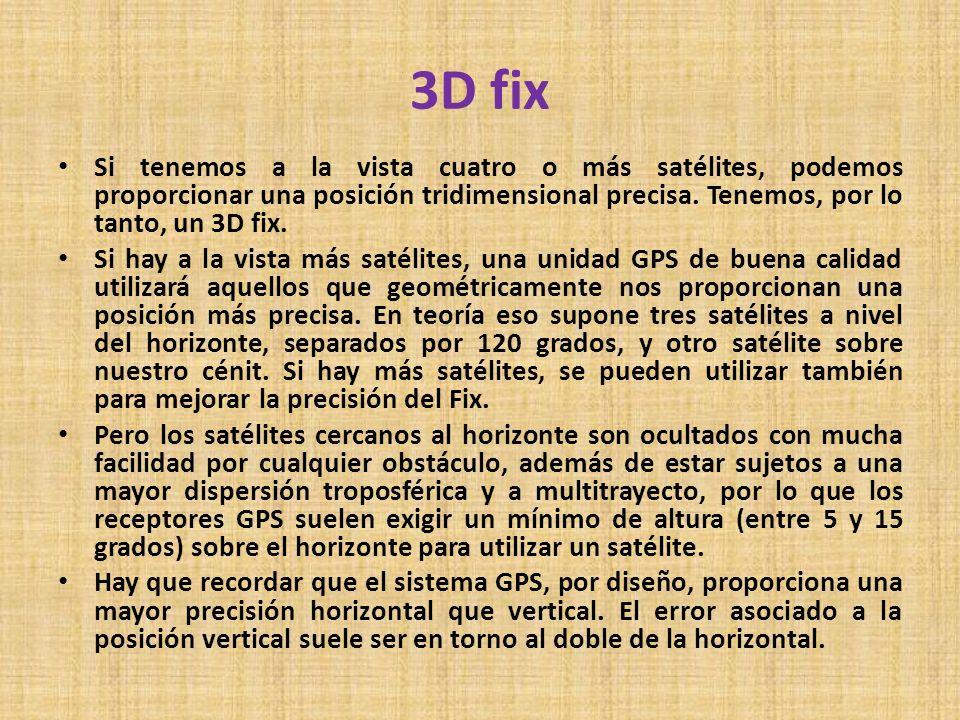 3D fixSi tenemos a la vista cuatro o más satélites, podemos proporcionar una posición tridimensional precisa. Tenemos, por lo tanto, un 3D fix.