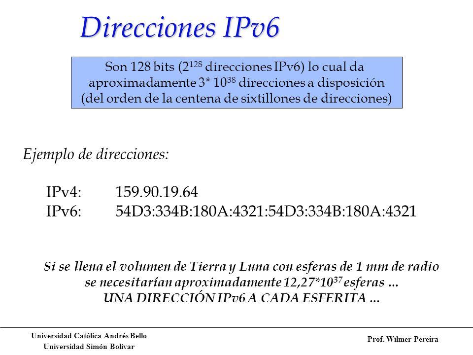 Direcciones IPv6 Ejemplo de direcciones: IPv4: 159.90.19.64
