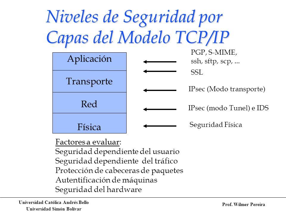 Niveles de Seguridad por Capas del Modelo TCP/IP
