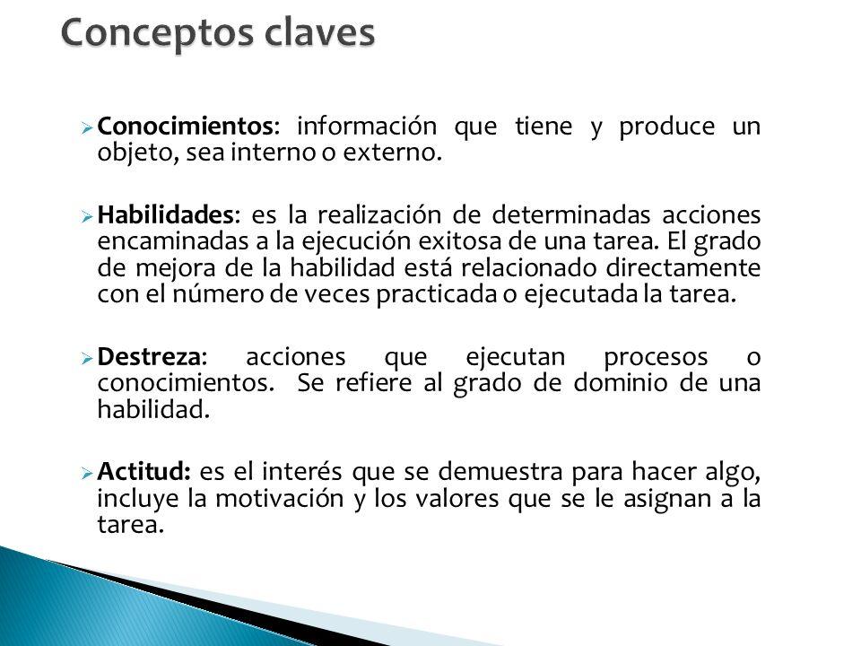Conceptos claves Conocimientos: información que tiene y produce un objeto, sea interno o externo.
