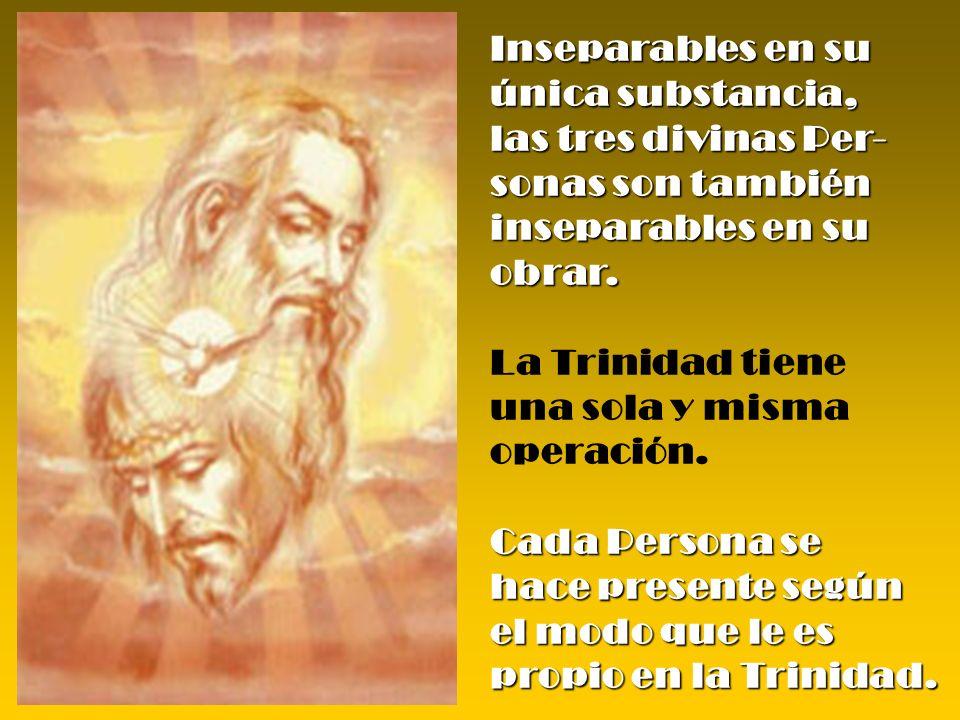 Inseparables en su única substancia, las tres divinas Per- sonas son también. inseparables en su obrar.