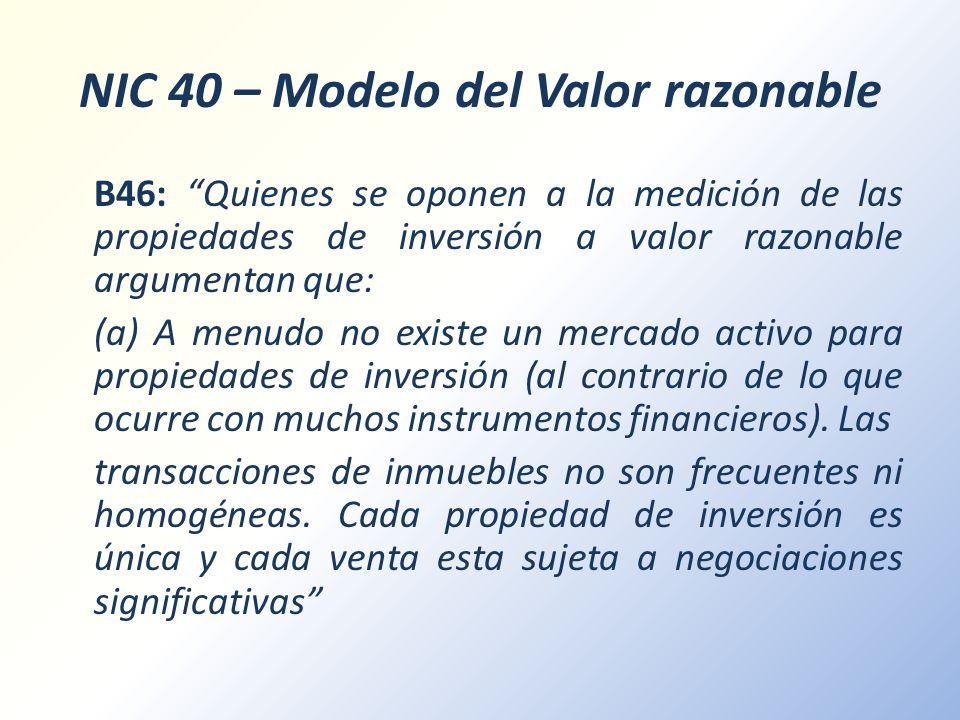 NIC 40 – Modelo del Valor razonable