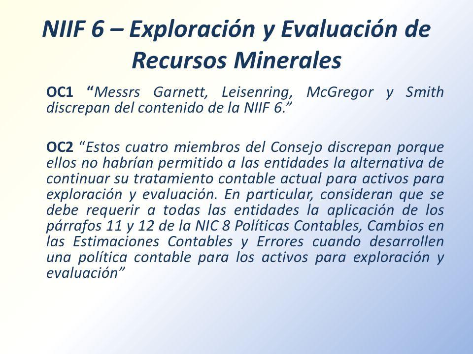 NIIF 6 – Exploración y Evaluación de Recursos Minerales