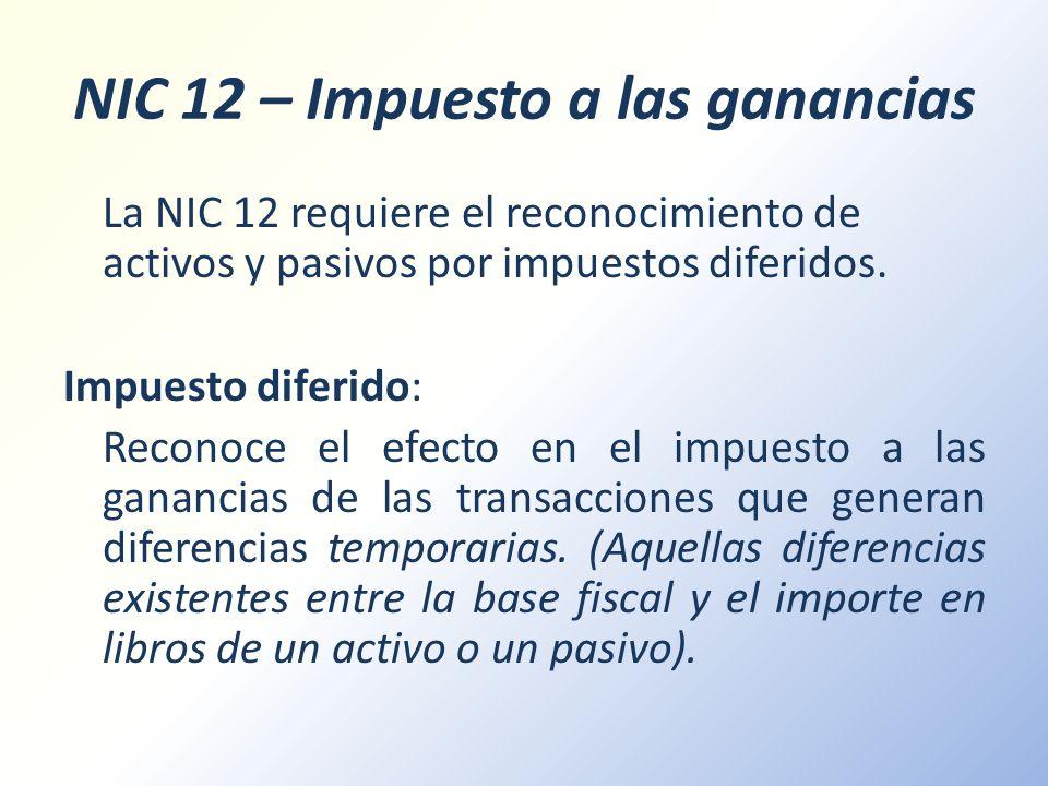 NIC 12 – Impuesto a las ganancias
