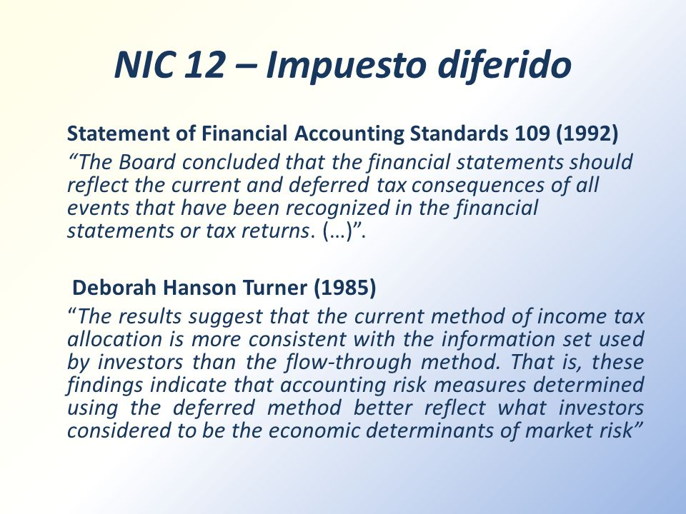 NIC 12 – Impuesto diferido