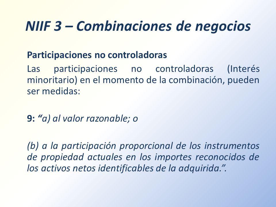 NIIF 3 – Combinaciones de negocios