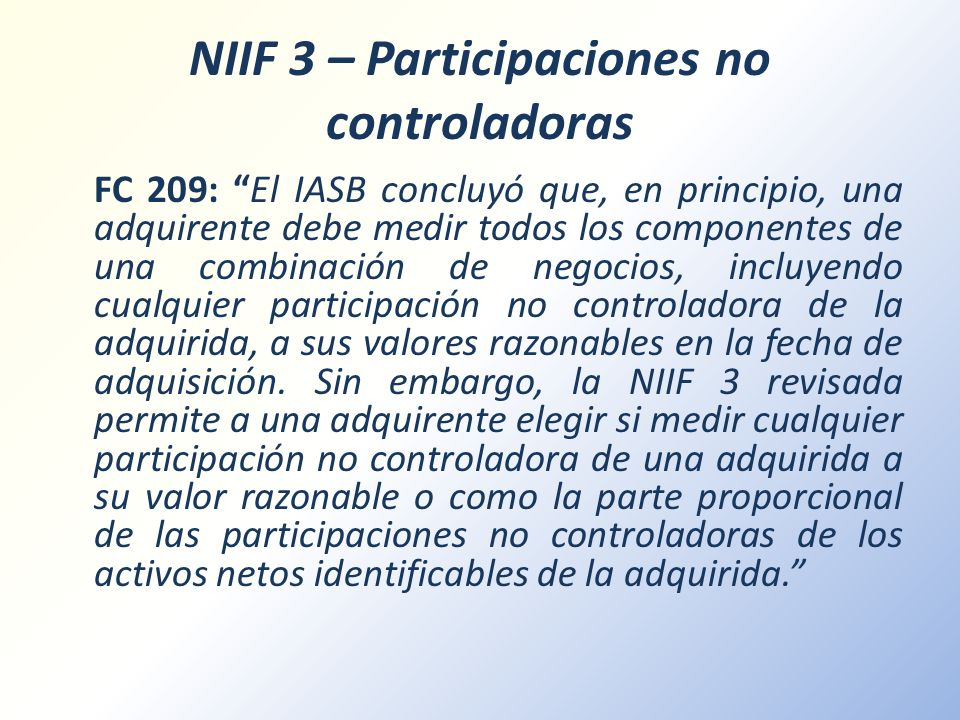 NIIF 3 – Participaciones no controladoras