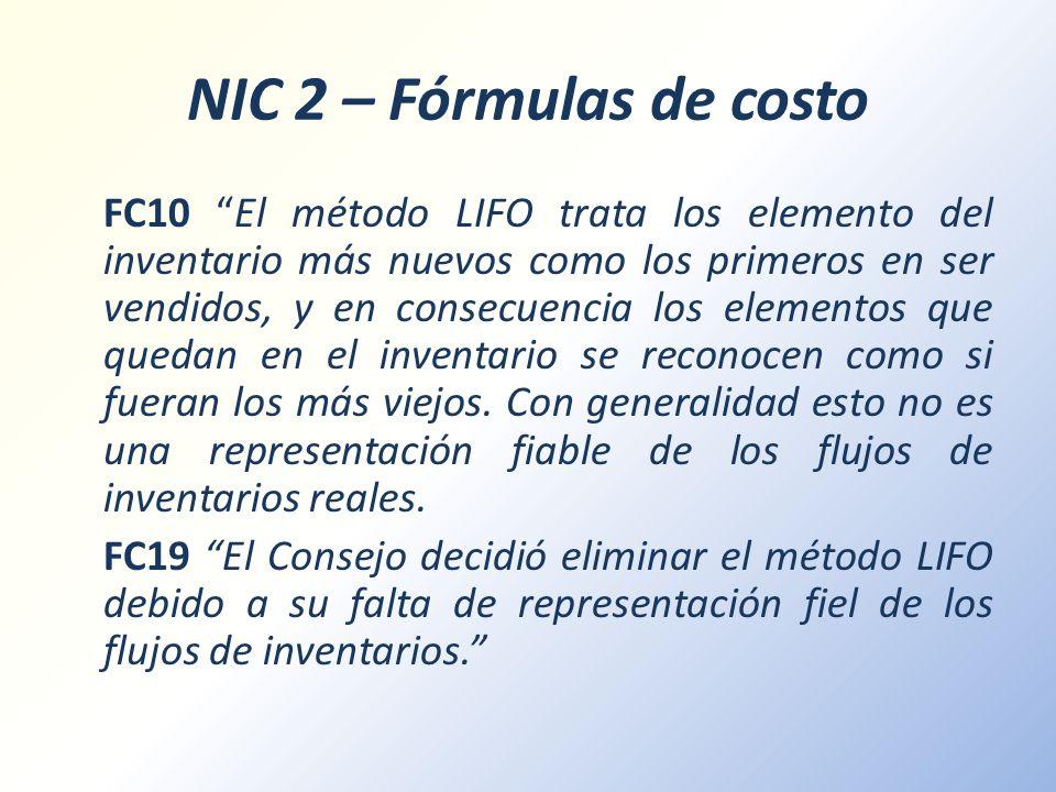 NIC 2 – Fórmulas de costo