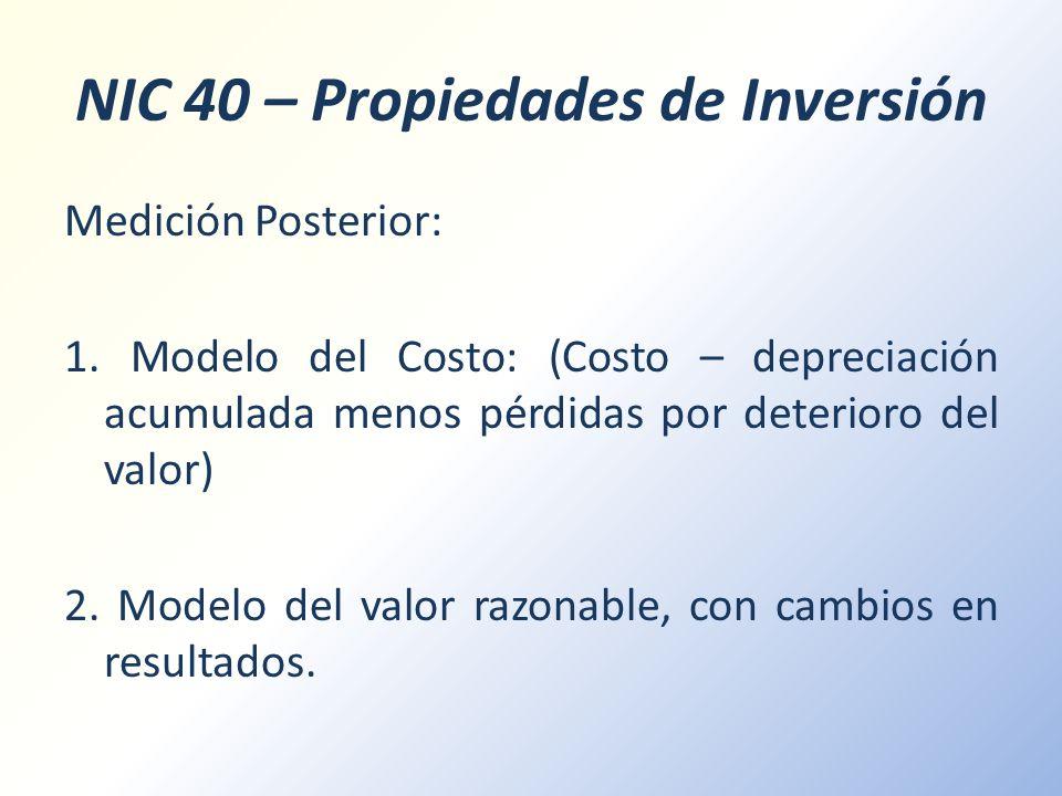 NIC 40 – Propiedades de Inversión