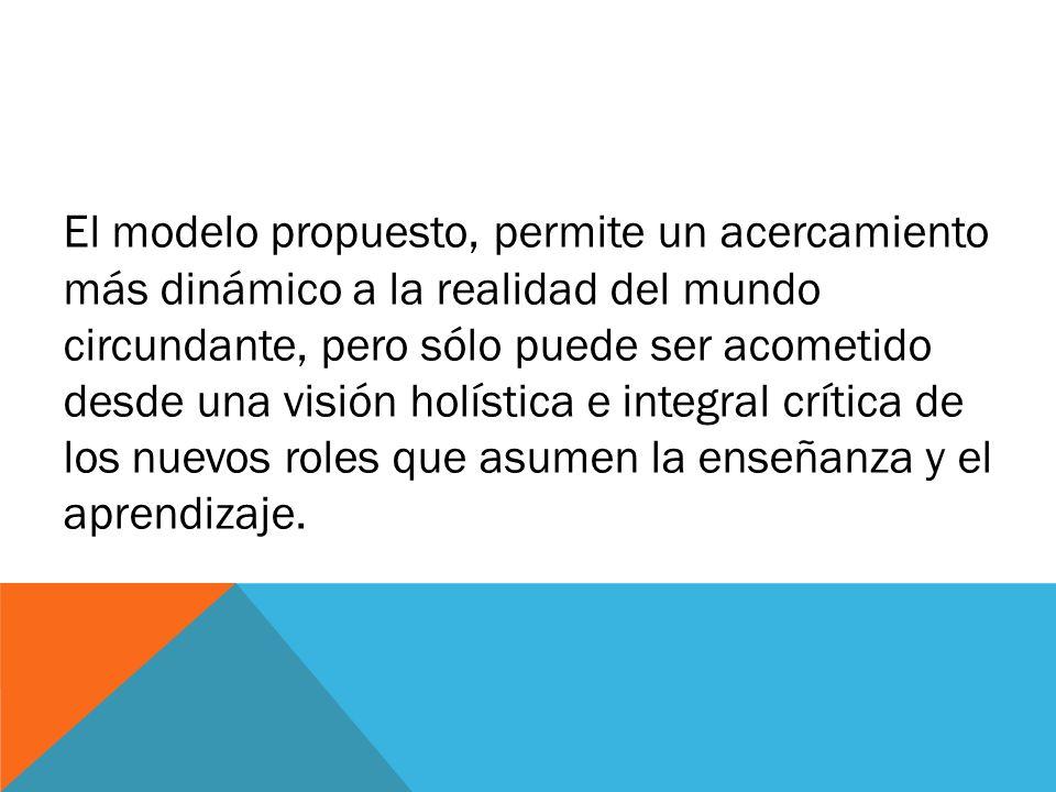 El modelo propuesto, permite un acercamiento más dinámico a la realidad del mundo circundante, pero sólo puede ser acometido desde una visión holística e integral crítica de los nuevos roles que asumen la enseñanza y el aprendizaje.