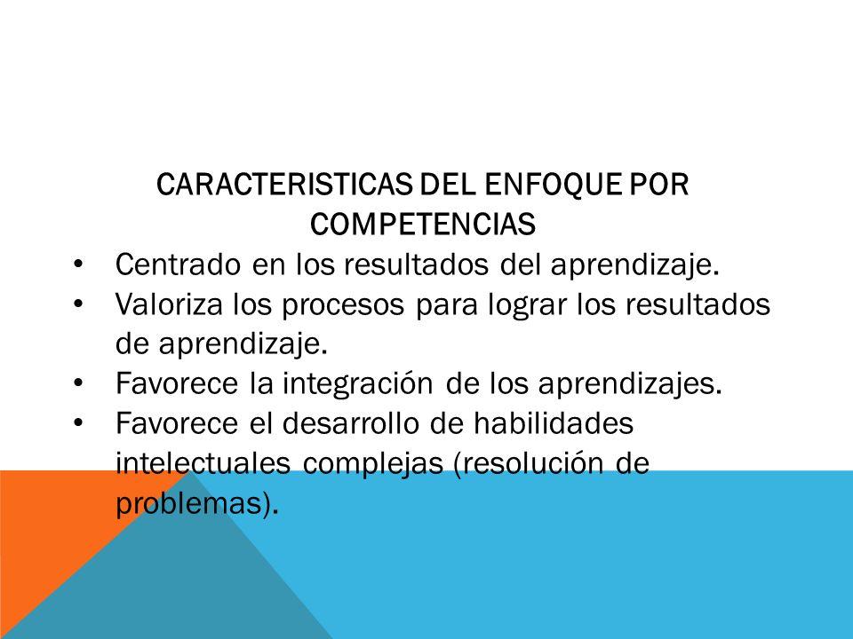 CARACTERISTICAS DEL ENFOQUE POR COMPETENCIAS
