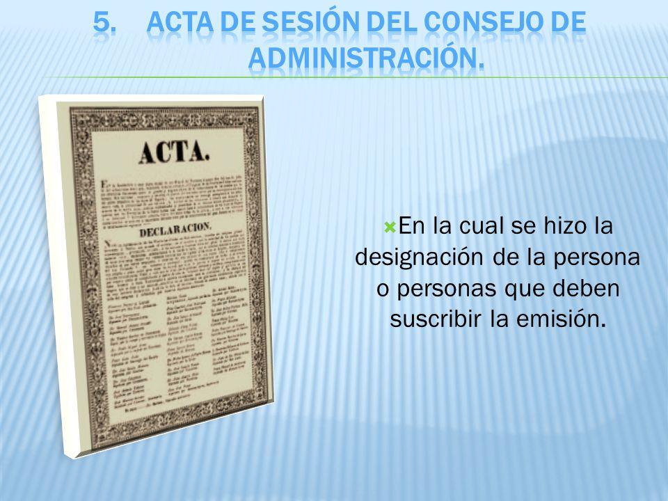Acta de sesión del consejo de administración.