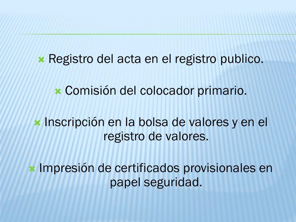 Registro del acta en el registro publico.