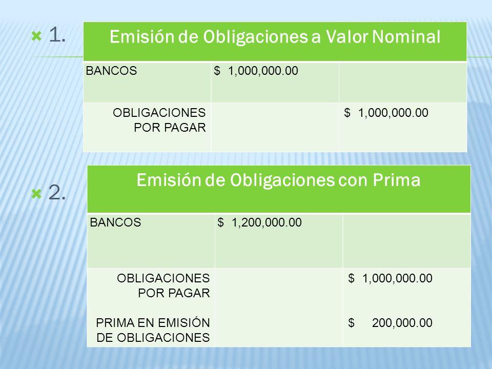 1. 2. Emisión de Obligaciones a Valor Nominal