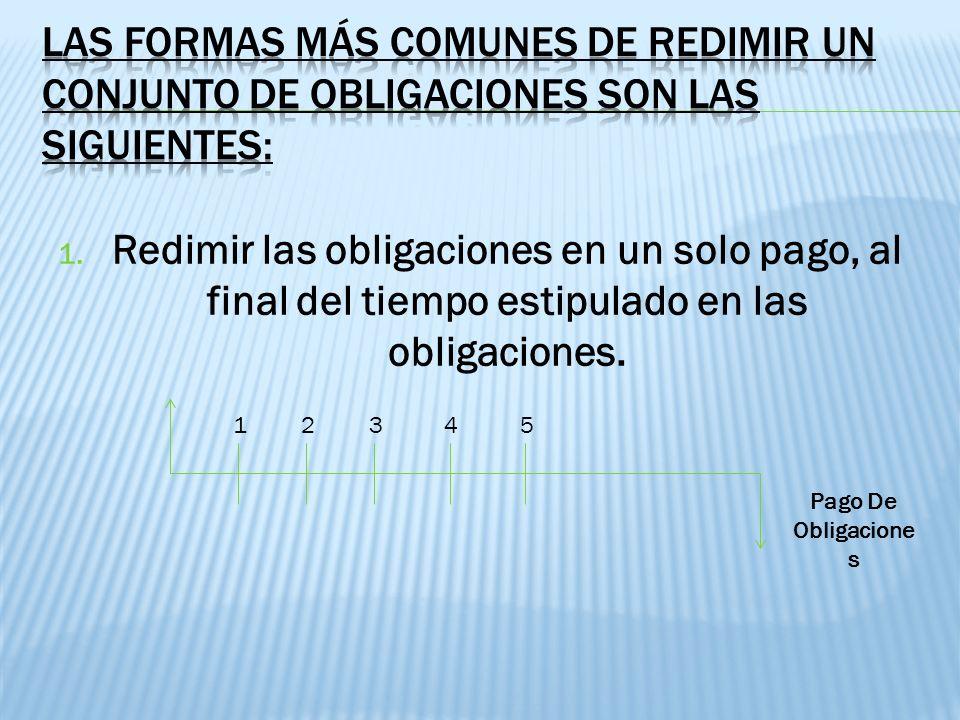Las formas más comunes de redimir un conjunto de obligaciones son las siguientes: