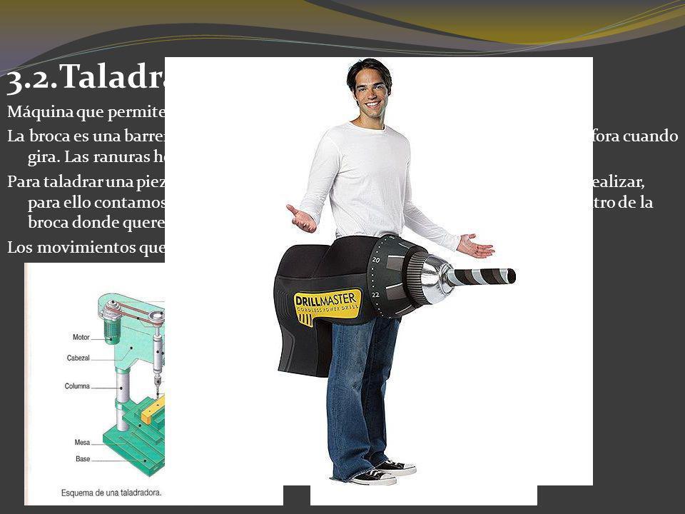 3.2.Taladradora. Máquina que permite perforar piezas por medio de una broca.