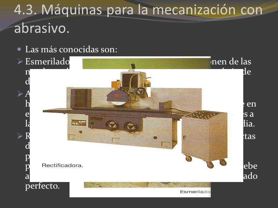 4.3. Máquinas para la mecanización con abrasivo.