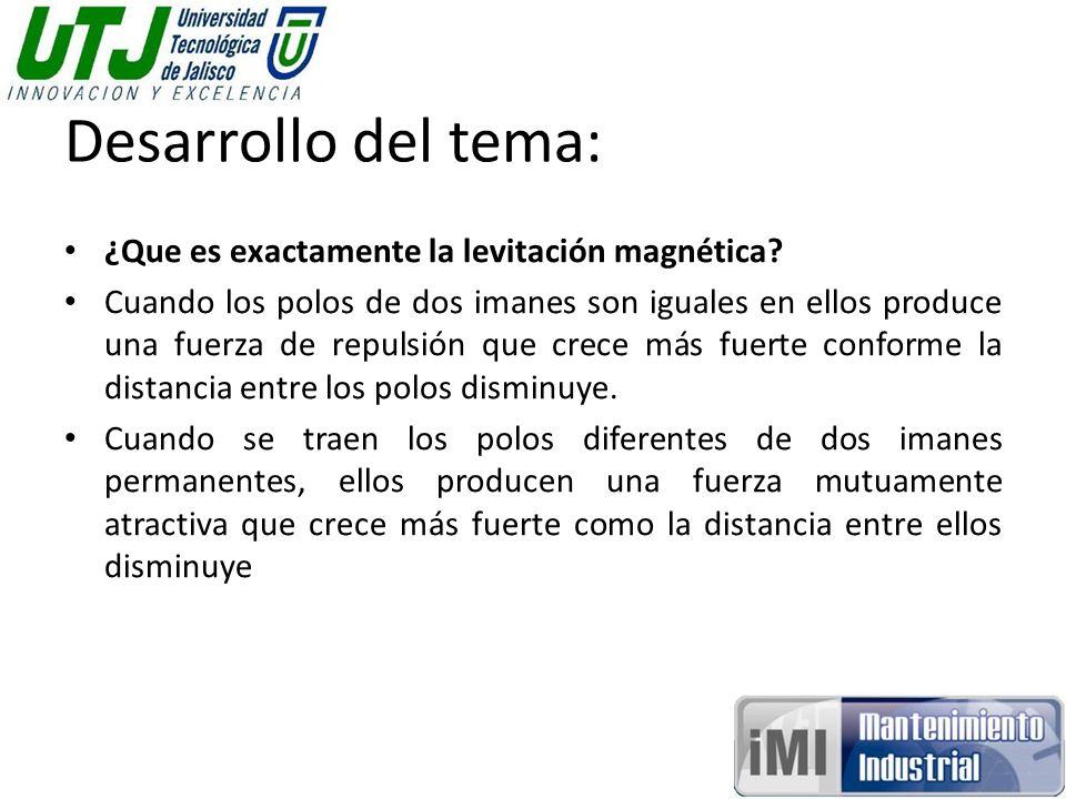 Desarrollo del tema: ¿Que es exactamente la levitación magnética
