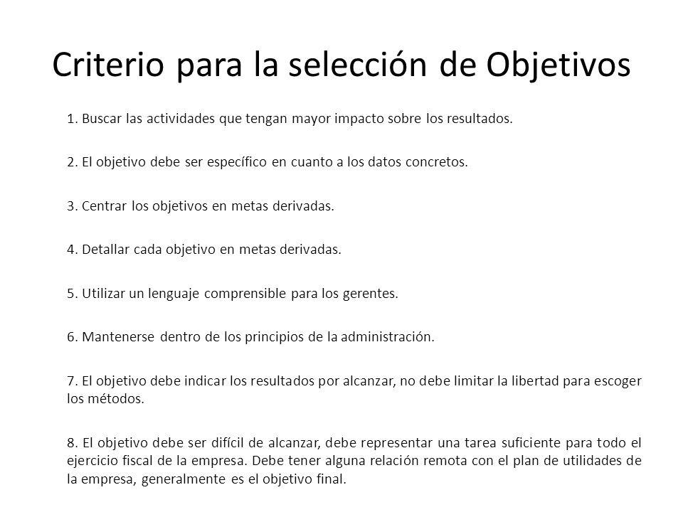 Criterio para la selección de Objetivos