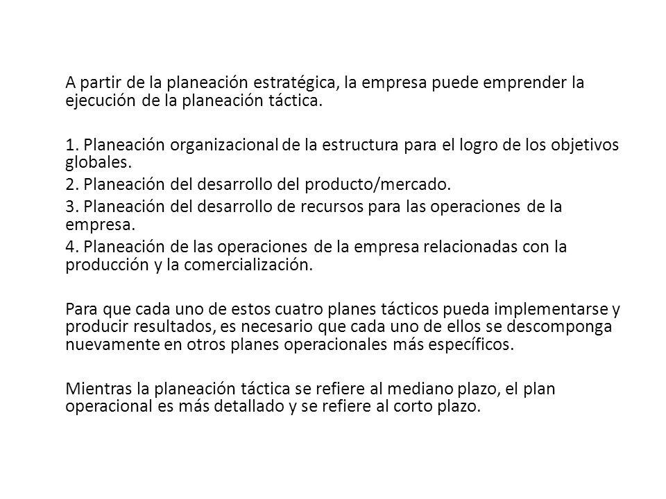 A partir de la planeación estratégica, la empresa puede emprender la ejecución de la planeación táctica.