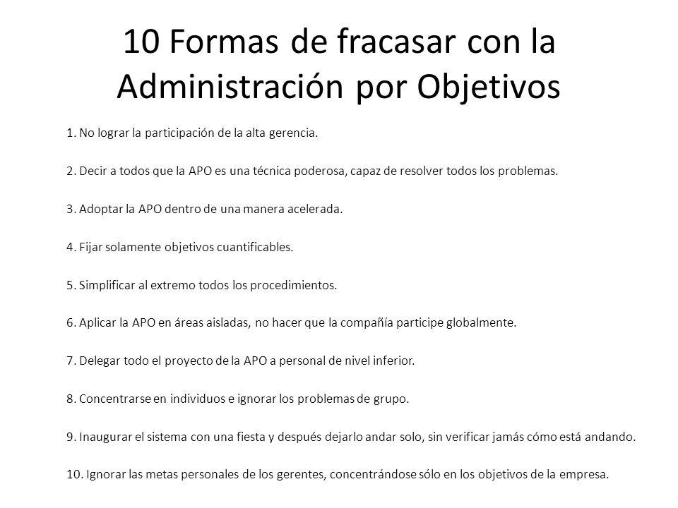 10 Formas de fracasar con la Administración por Objetivos