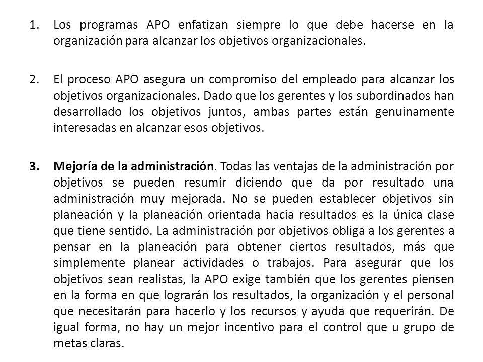 Los programas APO enfatizan siempre lo que debe hacerse en la organización para alcanzar los objetivos organizacionales.