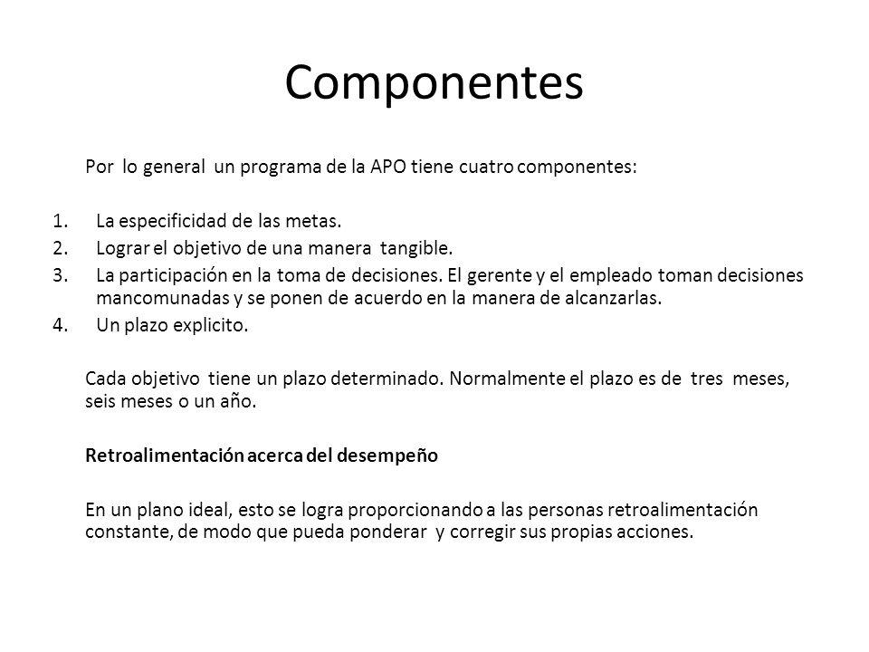 Componentes Por lo general un programa de la APO tiene cuatro componentes: La especificidad de las metas.