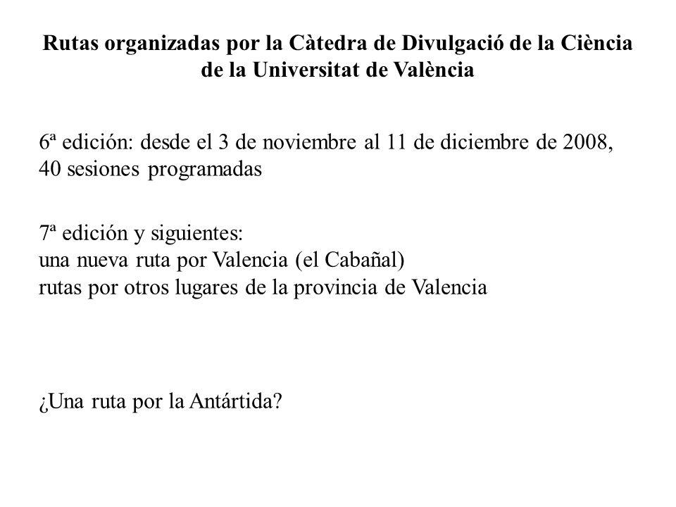 Rutas organizadas por la Càtedra de Divulgació de la Ciència de la Universitat de València
