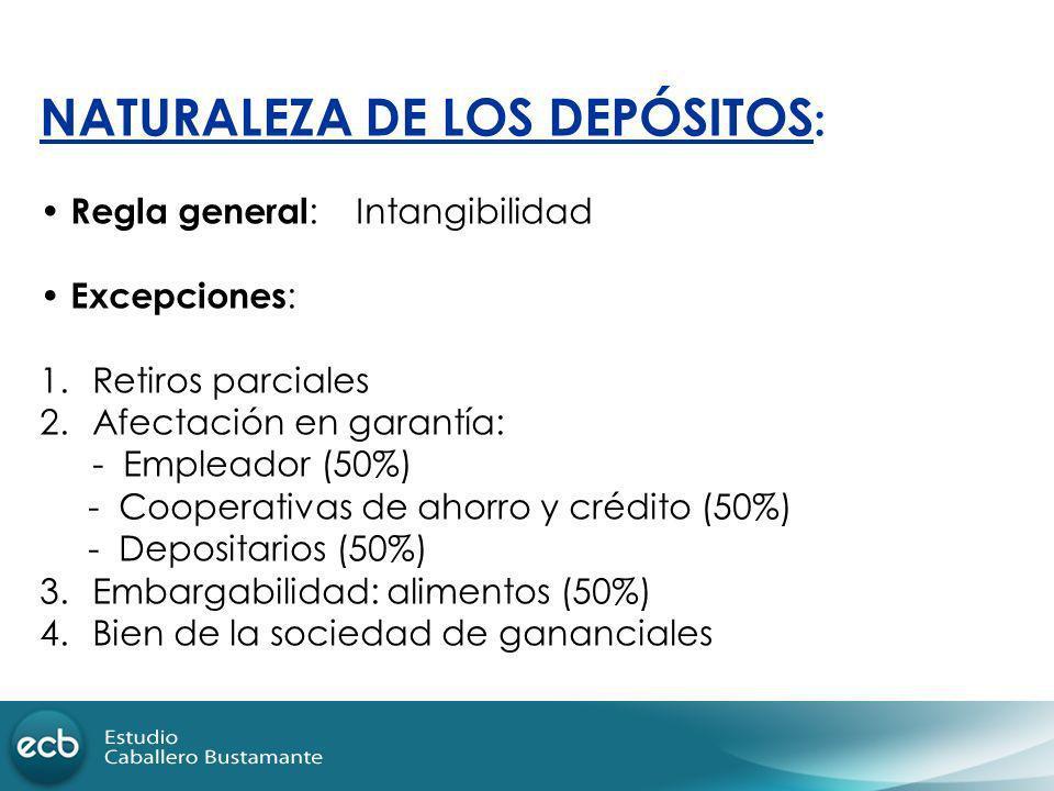 NATURALEZA DE LOS DEPÓSITOS: