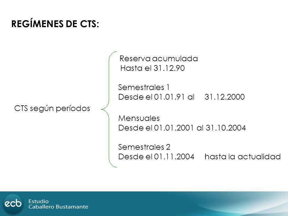 REGÍMENES DE CTS: Reserva acumulada Hasta el 31.12.90 Semestrales 1