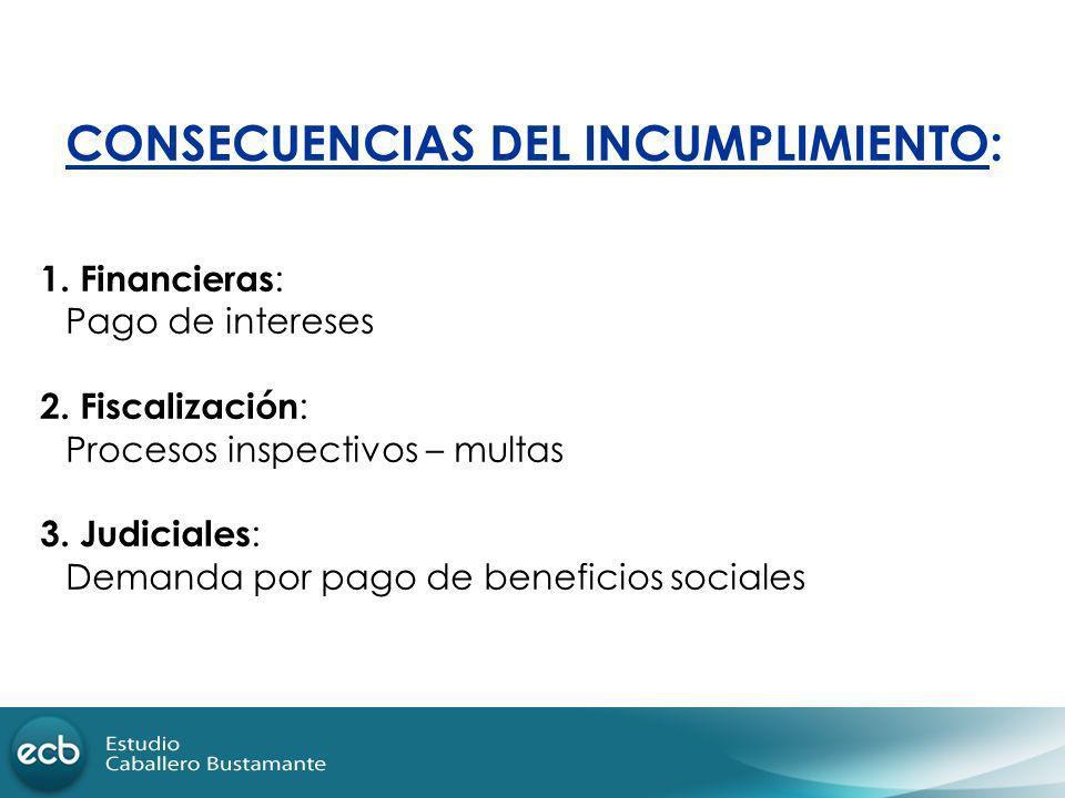 CONSECUENCIAS DEL INCUMPLIMIENTO:
