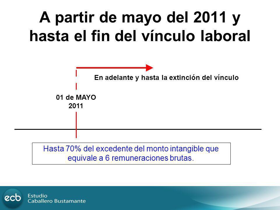 A partir de mayo del 2011 y hasta el fin del vínculo laboral
