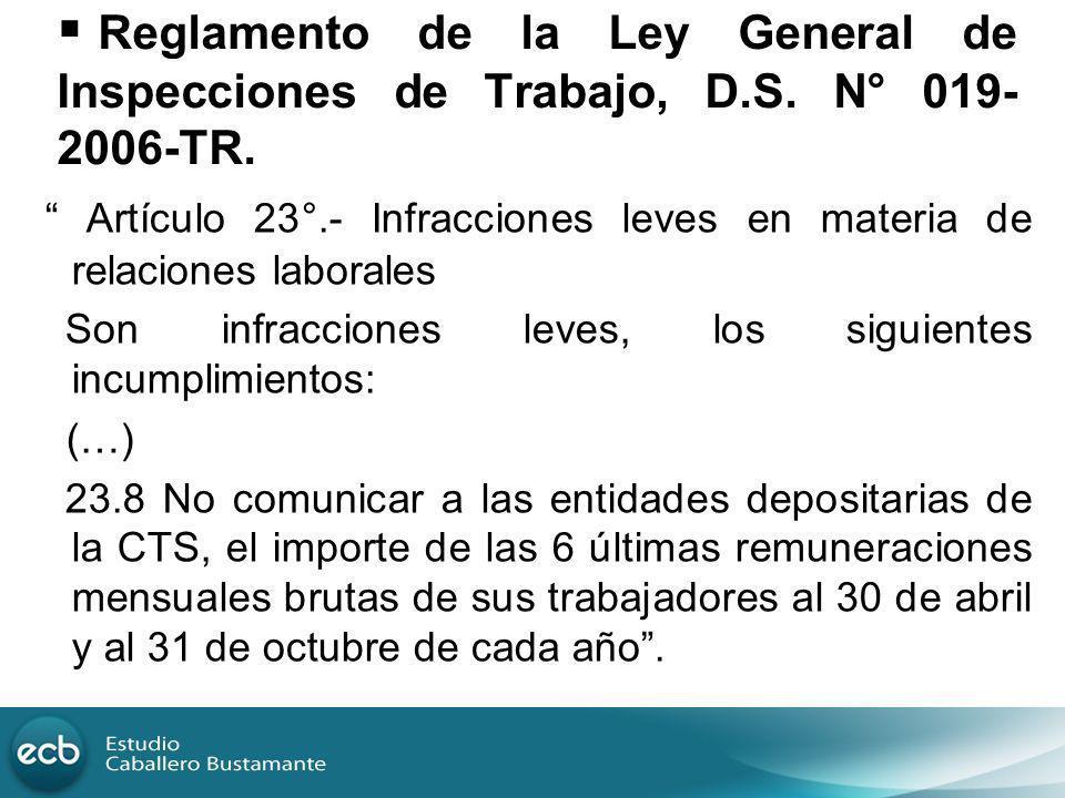 Reglamento de la Ley General de Inspecciones de Trabajo, D. S
