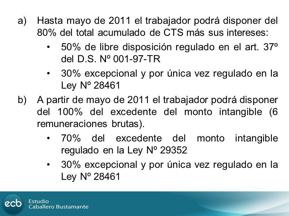 Hasta mayo de 2011 el trabajador podrá disponer del 80% del total acumulado de CTS más sus intereses: