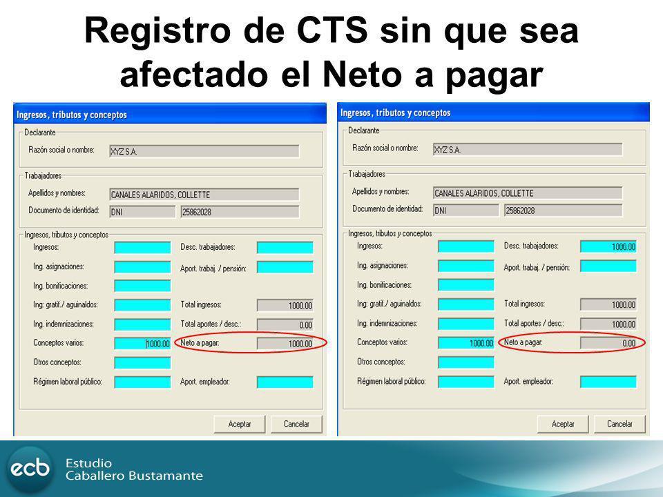 Registro de CTS sin que sea afectado el Neto a pagar