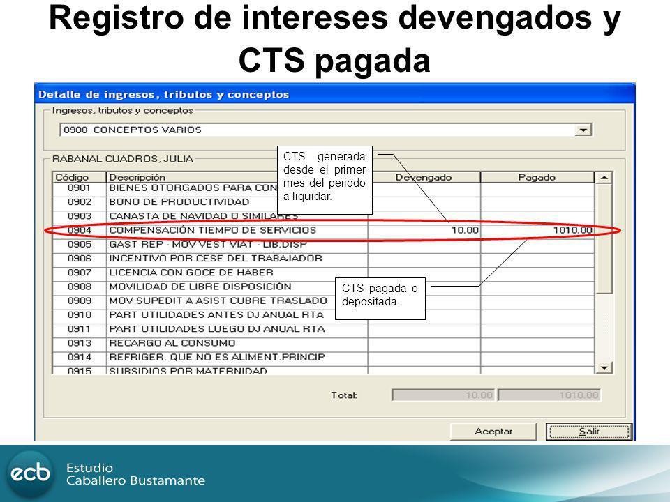 Registro de intereses devengados y CTS pagada