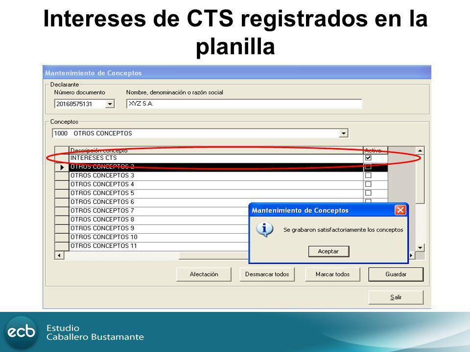 Intereses de CTS registrados en la planilla