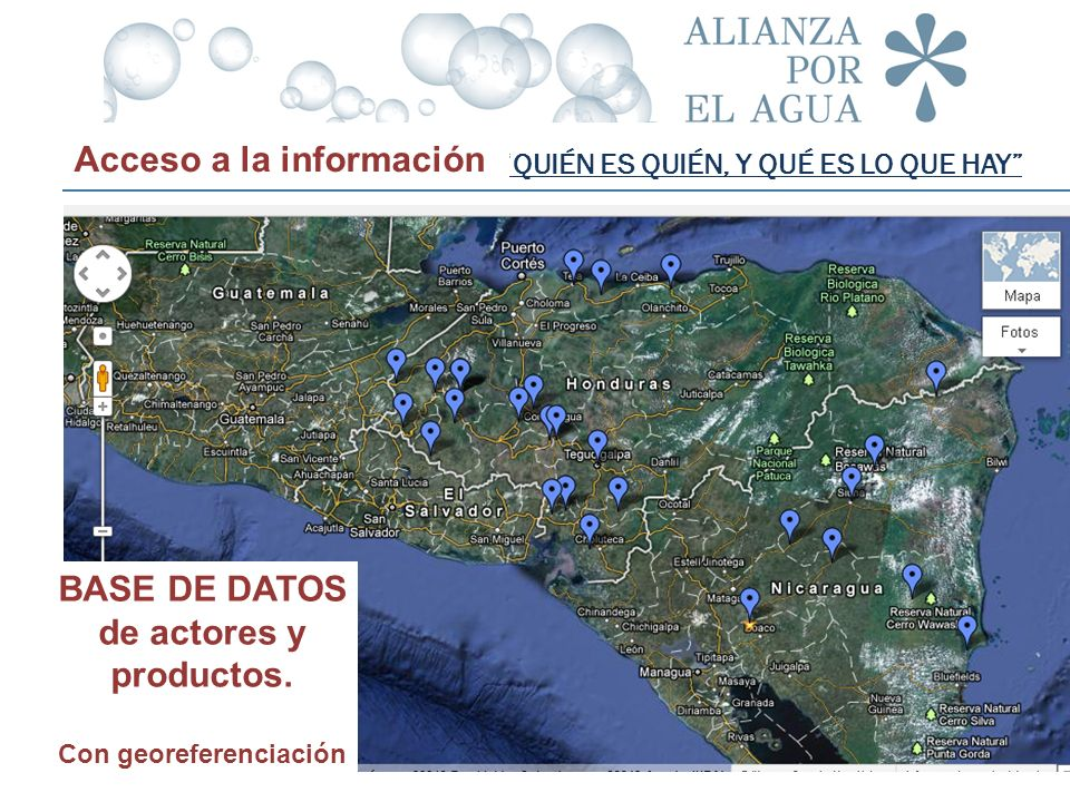 BASE DE DATOS de actores y productos. Con georeferenciación
