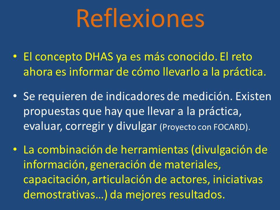 Reflexiones El concepto DHAS ya es más conocido. El reto ahora es informar de cómo llevarlo a la práctica.