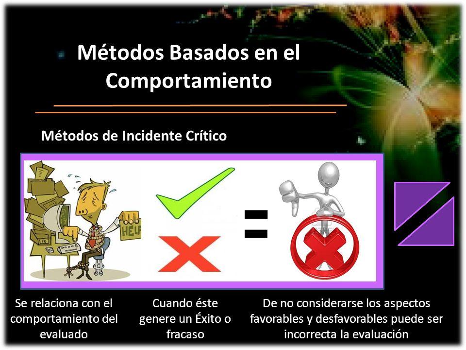 Métodos Basados en el Comportamiento Métodos de Incidente Crítico
