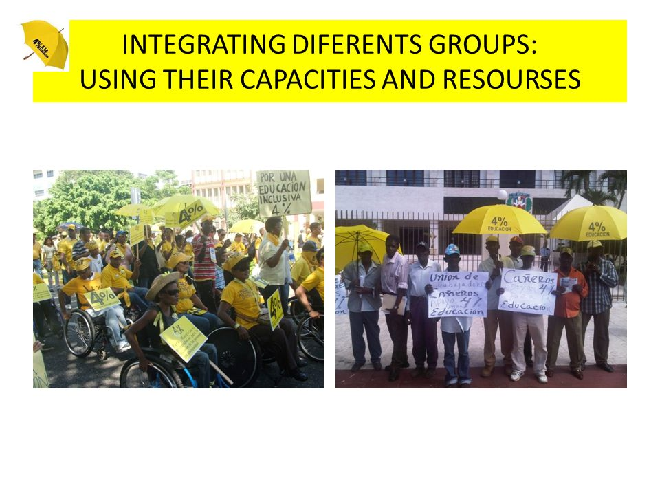 INTEGRATING DIFERENTS GROUPS: USING THEIR CAPACITIES AND RESOURSES