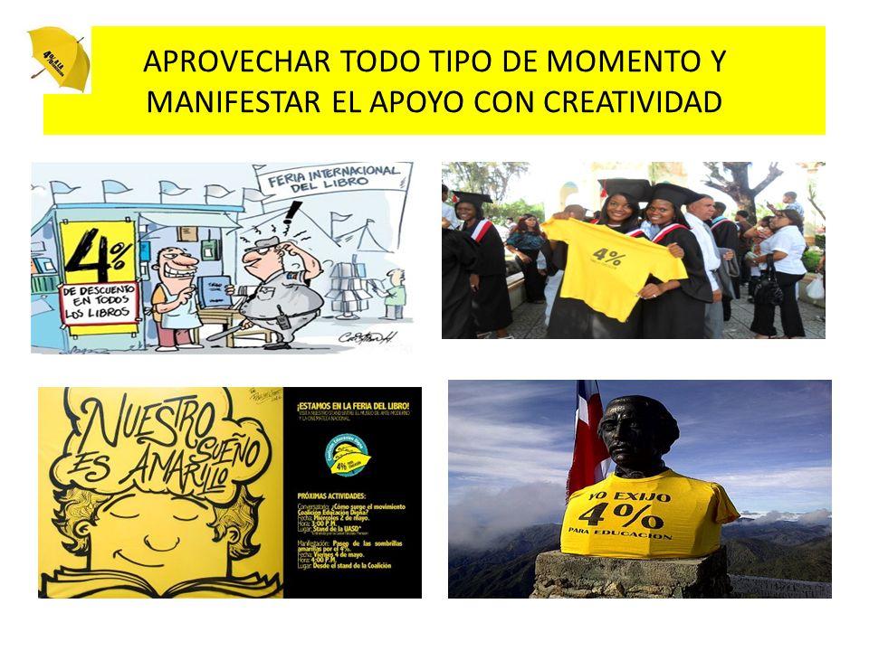 APROVECHAR TODO TIPO DE MOMENTO Y MANIFESTAR EL APOYO CON CREATIVIDAD