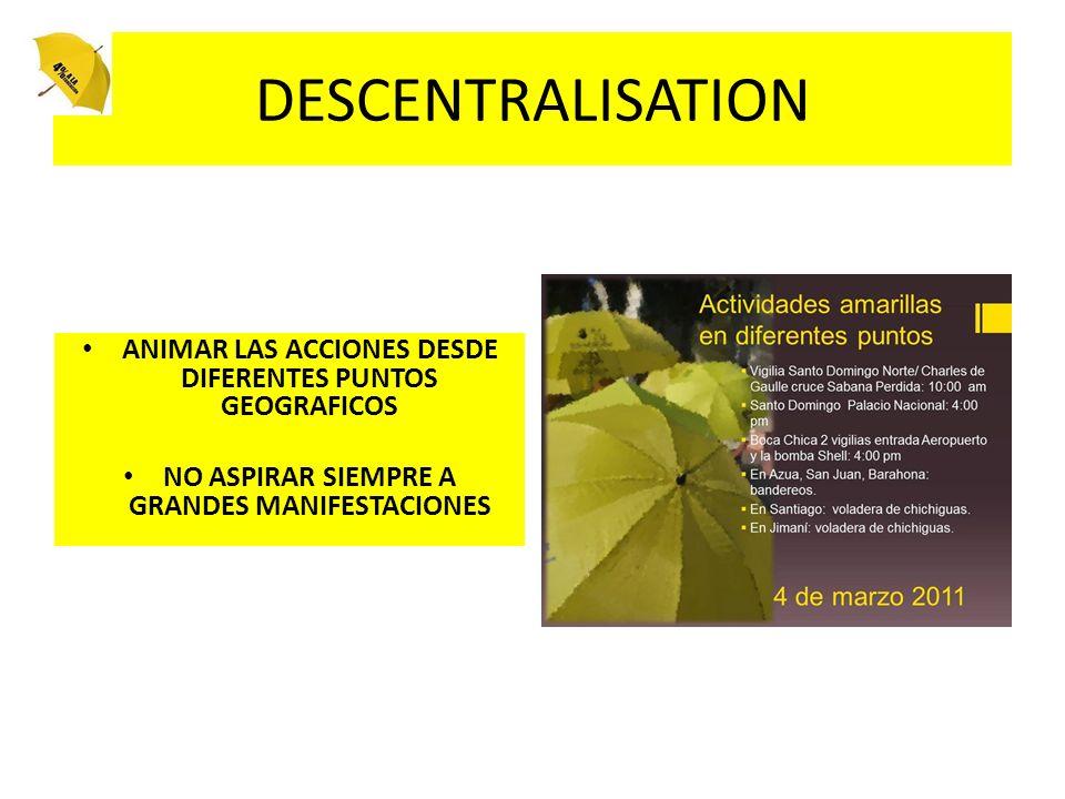 DESCENTRALISATION ANIMAR LAS ACCIONES DESDE DIFERENTES PUNTOS GEOGRAFICOS.